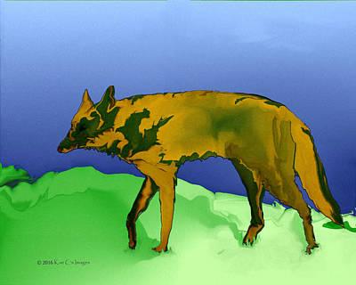 Canines Digital Art - Digital Coyote by Kae Cheatham