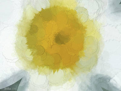 Photograph - Digital Daisy Watercolor by Teresa Wilson