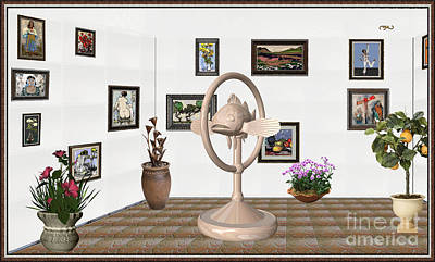 Post Impressionism Mixed Media - digital exhibartition _ Statue of fish 3 by Pemaro