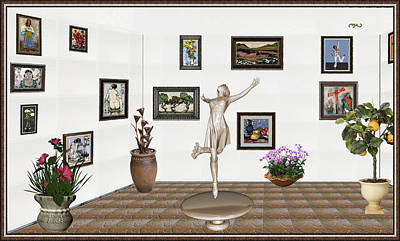 Post Impressionism Mixed Media - digital exhibition _ A sculpture of a dancing girl 12 by Pemaro