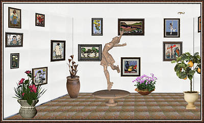 Post Impressionism Mixed Media - digital exhibition _ A sculpture of a dancing girl 14 by Pemaro