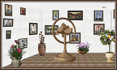 Post Impressionism Mixed Media - digital exhibition _ Statue of fish 1 by Pemaro