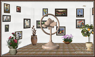 Post Impressionism Mixed Media - digital exhibition _ Statue of fish 2 by Pemaro