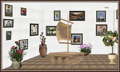Post Impressionism Mixed Media - digital exhibition _ Statue raft with sails 4 by Pemaro