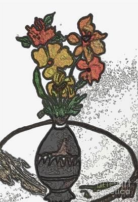 Mixed Media - Digital Fall Bouquet Ll by Marsha Heiken
