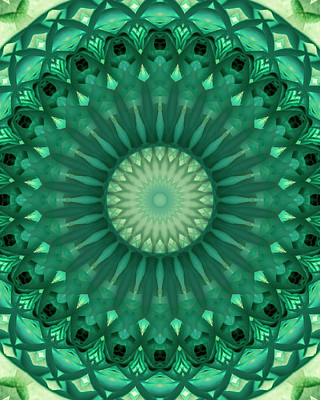 Digital Art - Digital Green Mandala by Jaroslaw Blaminsky