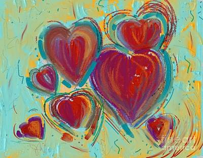 Painting - Digital Hearts by Jeanie Watson