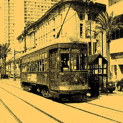 St. Charles Digital Art - Digital Ink Pen Drawing New Orleans Street Car by Garland Oldham