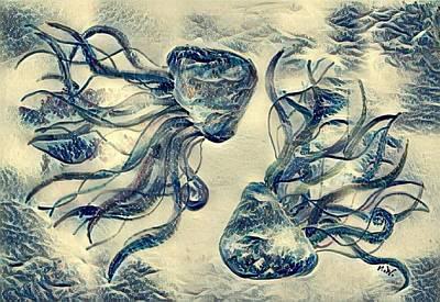 Digital Art - Digital Jellyfiish 1 by Megan Walsh