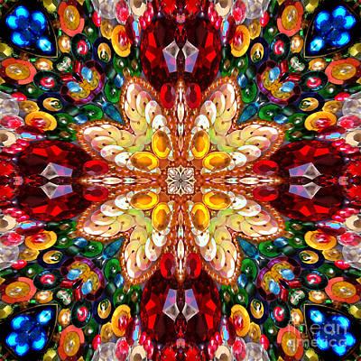 Digital Kaleidoscope - Rhinestone Mosaic A4 Art Print