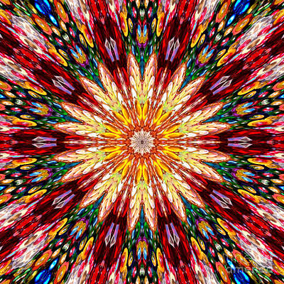Digital Kaleidoscope - Rhinestone Mosaic A5 Art Print