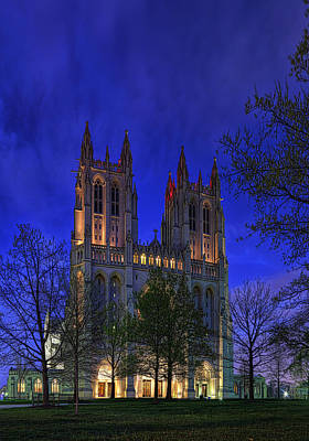 Digital Liquid - Washington National Cathedral After Sunset Art Print by Metro DC Photography