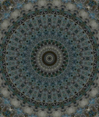 Photograph - Digital Mandala In Blue And Grey by Jaroslaw Blaminsky
