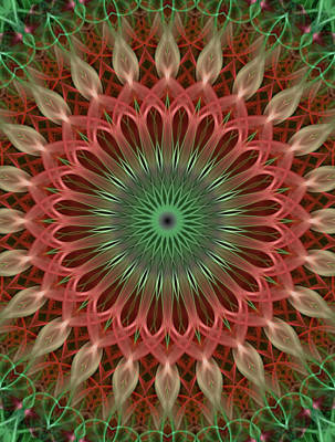 Photograph - Digital Mandala In Red And Green by Jaroslaw Blaminsky