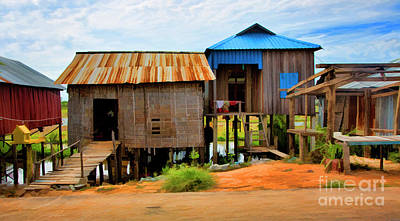 Digital Paint Cambodia Home On River  Art Print
