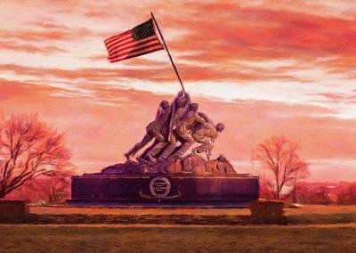 Washington Monument Digital Art - Digital Painting Of Iwo Jima Memorial At Dawn As Sun Rises by Steven Heap