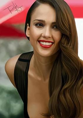 Jessica Alba Digital Art - Digital Painting Of Jessica Alba by Frohlich Regian