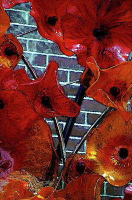 Photograph - Digital Painting Orange Glass Sculpture 2920 Dp_2 by Steven Ward