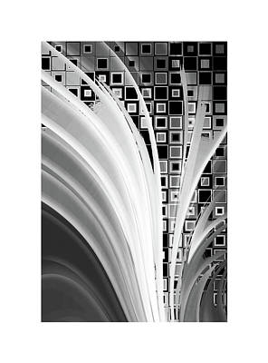 Tron Digital Art - Digital Revolution Bw by Steve K