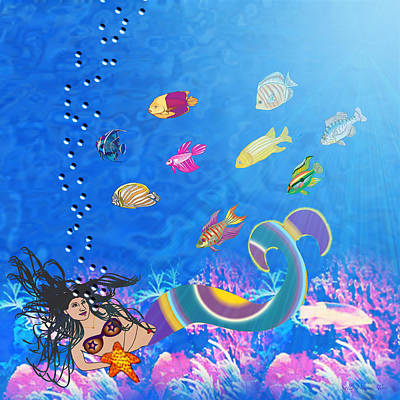 Luz Digital Art - Sirena by Sally Toro