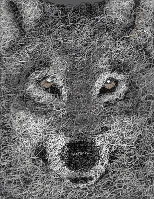 Digital Scribble - Wolf Art Print by Nathan Shegrud