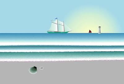Digital Shoreline 1 Art Print by Steve Smyth