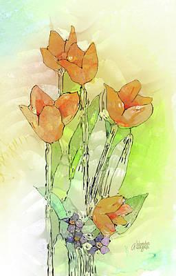 Floral Digital Art Digital Art - Digital Tulips by Arline Wagner