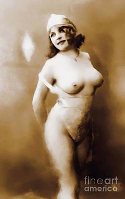Nudes Royalty-Free and Rights-Managed Images - Digital Vintage Pinup Painting by Frank Falcon