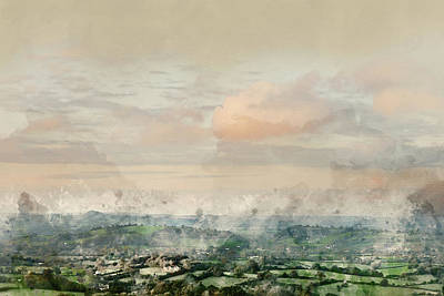 Photograph - Digital Watercolor Painting Of Beautiful Dawn Landscape Over Som by Matthew Gibson
