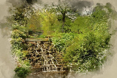 Photograph - Digital Watercolor Painting Of Beautiful Summer Landscape Image Of Stream Flowing Over Rocks In Wate by Matthew Gibson