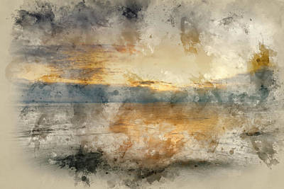 Photograph - Digital Watercolor Painting Of Beautiful Vibrant Sunrise Landsca by Matthew Gibson