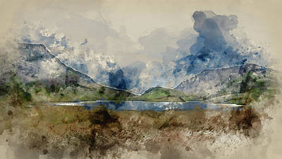 Photograph - Digital Watercolor Painting Of Evening Landscape Image Of Llyn Y Dywarchen Lake In Snowdonia Nationa by Matthew Gibson