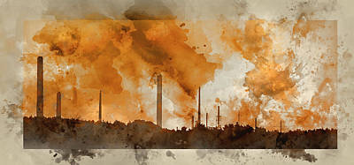Photograph - Digital Watercolor Painting Of Industrial Chimney Stacks Polluti by Matthew Gibson