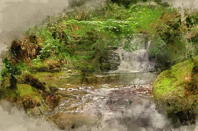 Photograph - Digital Watercolor Painting Of Lush Green Forest Scene With Wate by Matthew Gibson