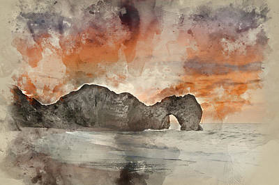 Photograph - Digital Watercolor Painting Of Sunrise Behind Durdle Door On Jurassic Coast In England by Matthew Gibson