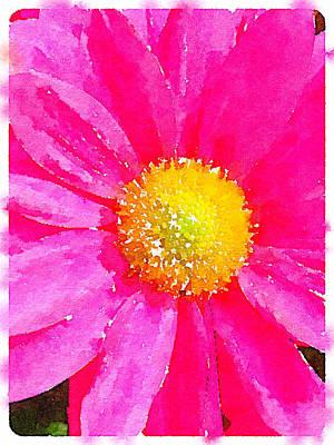 Digital Watercolour Of A Pink Daisy Pollen Flower Art Print by Anita Van Den Broek