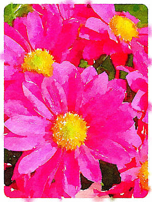 Digital Watercolour Of Pink Daisy Pollen Flowers Art Print by Anita Van Den Broek