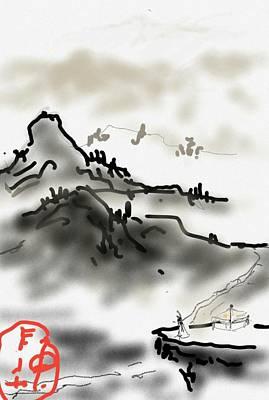 Digital Art - digitally Chinese landscape by Debbi Saccomanno Chan