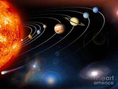Planets Digital Art - Digitally Generated Image Of Our Solar by Stocktrek Images