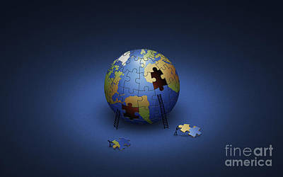 Interlocking Digital Art - Digitally Generated Image Of The Earth by Vlad Gerasimov