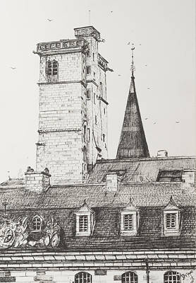 Wine Art Drawing - Dijon Rooftops by Vincent Alexander Booth