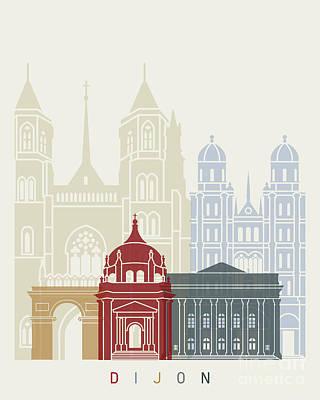 Dijon Skyline Poster Art Print by Pablo Romero