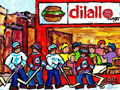 Painting - Dilallo Burger Hamburger Restaurant Paintings Montreal Winter Scenes Hockey Art Canadian Artist by Carole Spandau