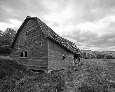 Photograph - Dilapidated Barn Keene New York Ny Route 73 Black And White by Toby McGuire