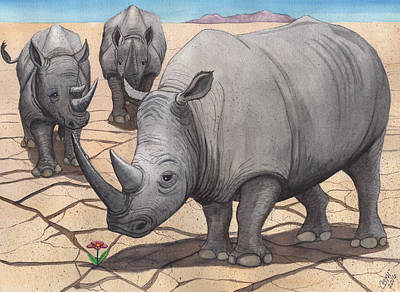 White Rhino Painting - Dilemma by Catherine G McElroy
