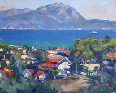 Island Painting - Dilesi And Evia Island Greece by Ylli Haruni