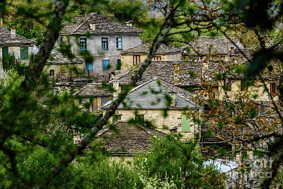 Photograph - Dilofo Village Through The Branches, Zagori, Greece by Global Light Photography - Nicole Leffer