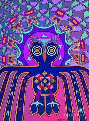 Painting - Dimensional Owl by Ed Tajchman