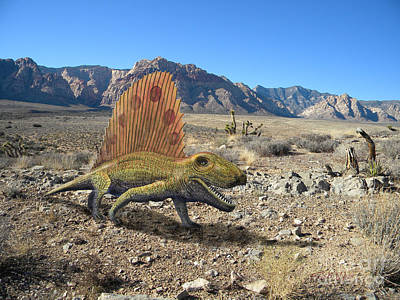 Reptiles Mixed Media - Dimetrodon In The Desert by Frank Wilson