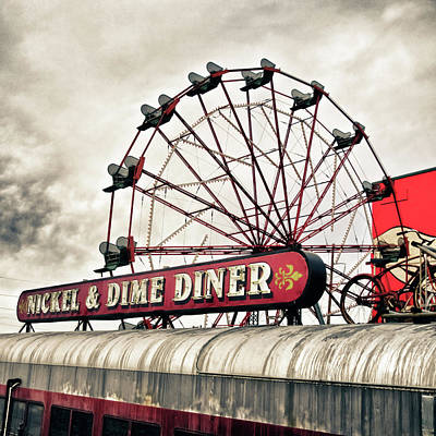Photograph - Diner Car Ferris Wheel Square Format by Tony Grider